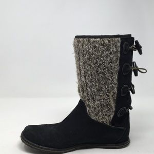 BLACK WOOL KNIT LEATHER BOOTS 10M